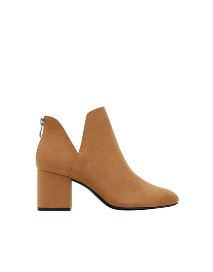 Camel cut-out high-heel ankle boots