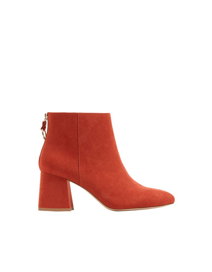 Russet ankle boots with heel detail