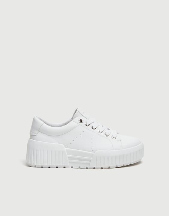 127167d0d95869 Weißer Sneaker mit Plateau - PULL BEAR