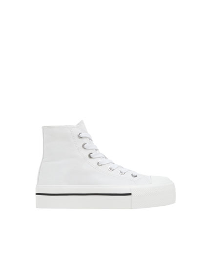 Chunky heel high-top trainers