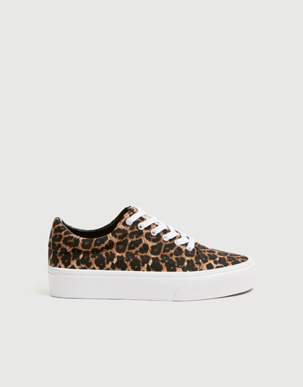 Leopard print street trainers