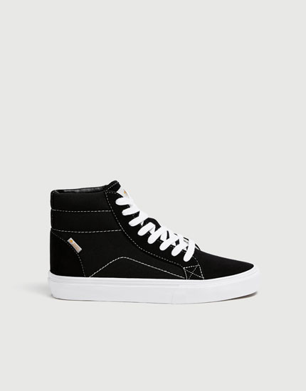 Black high-top street trainers