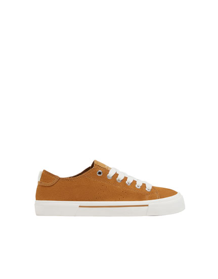 Camel split suede trainers