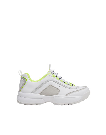 TRACK SOLE TRAINERS WITH NEON DETAILING