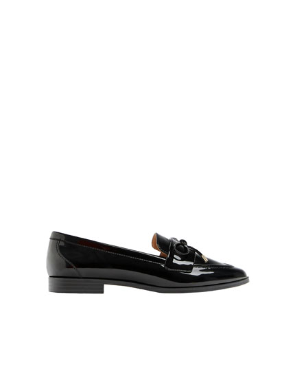 Black patent finish loafers