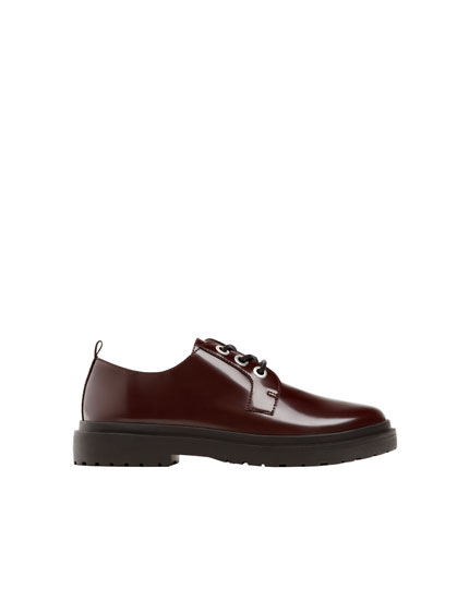 Burgundy patent finish derby shoes