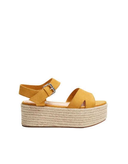 Mustard yellow platform wedges with straps