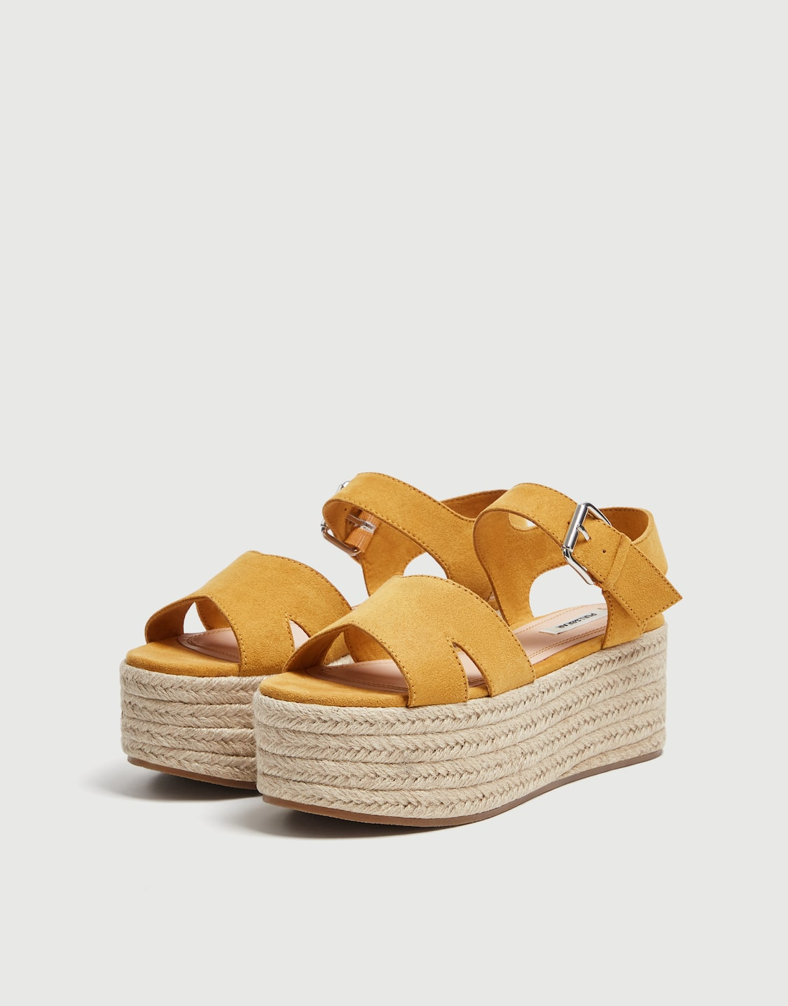 65db97f62d7 Mustard yellow platform wedges with straps - PULL BEAR