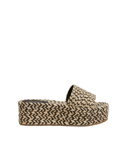 Contrast jute wedge slides