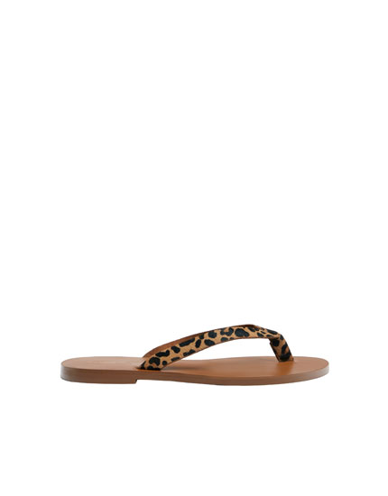 Animal print leather sandals