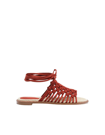 Braided coral sandals