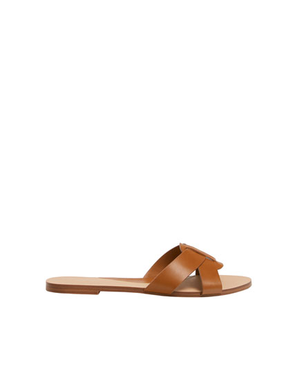 Tan criss-cross vamp sandals