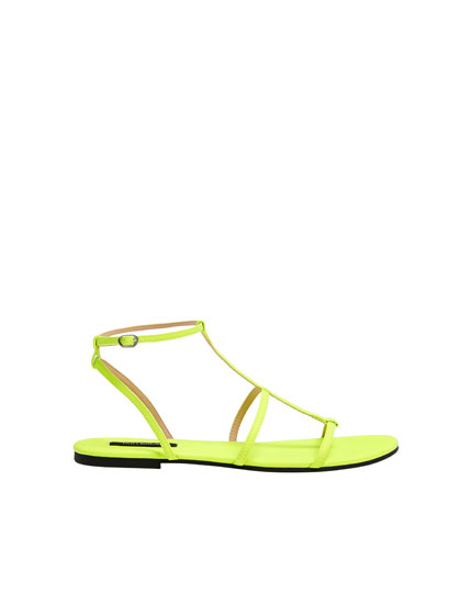 Fluorescent strappy flat sandals