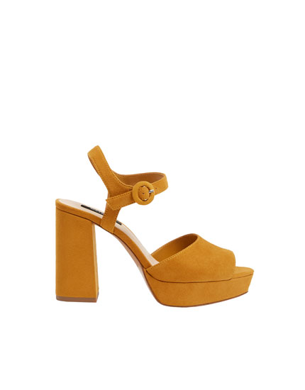 3e5b24aa132 Mustard yellow high-heel sandals - PULL BEAR