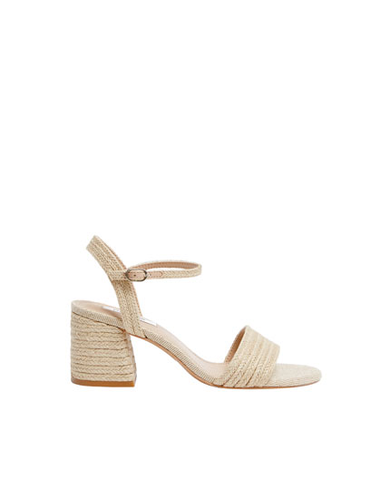 Natural jute mid-heel sandals