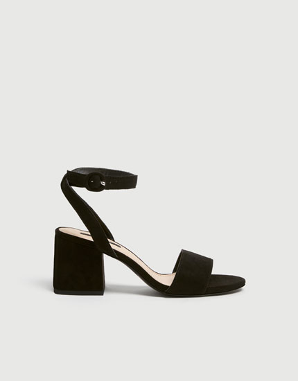 b0a0bb7c095e Black mid heel sandals with ankle strap