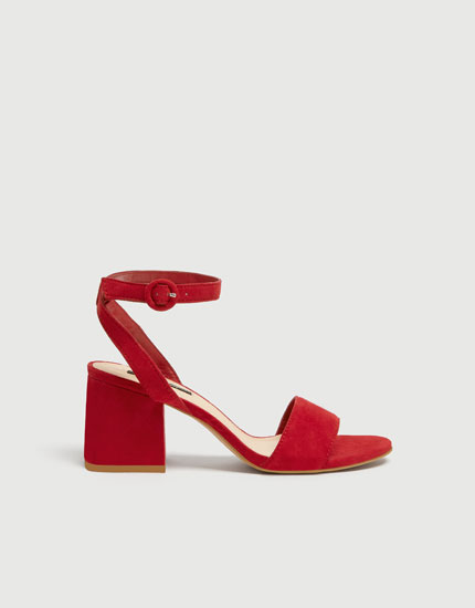 Red mid heel sandals with ankle strap