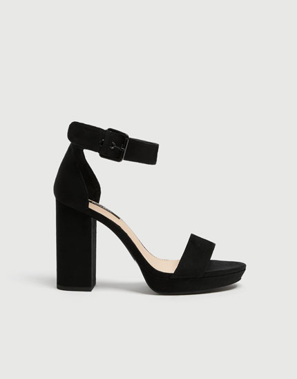Black high heel sandals with buckle