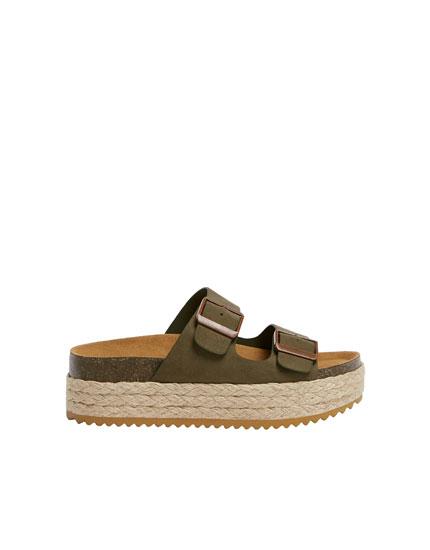 Jute block heel sandals
