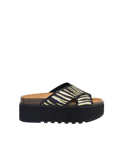 Zebra print platform sandals