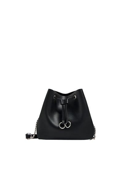 Black urban bucket bag