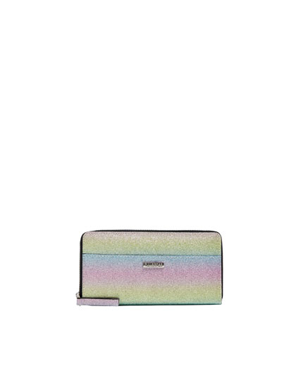 Multicoloured shimmer clutch.