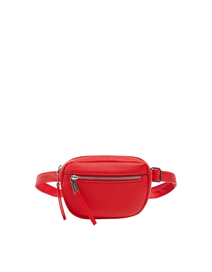 Red belt bag with zip details