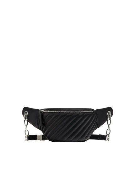 Black quilted urban belt bag