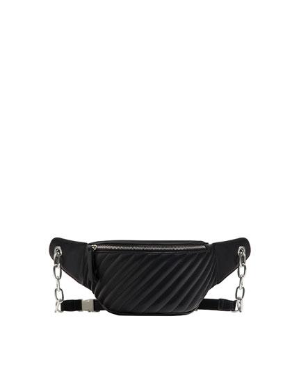 Black quilted urban belt bag
