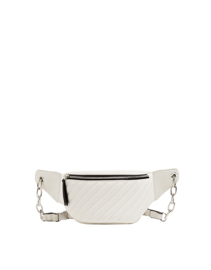 White quilted urban belt bag