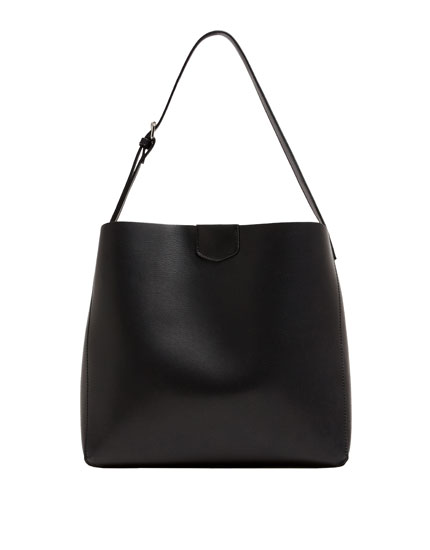 Black crossbody tote bag