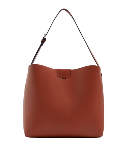 Brown crossbody tote bag