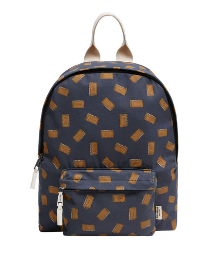 Blue backpack with biscuit print