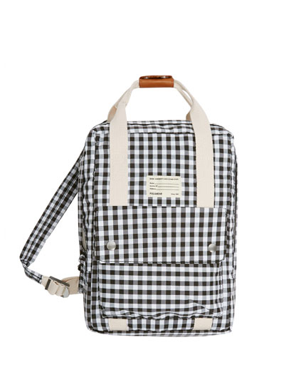 Gingham fabric mini backpack