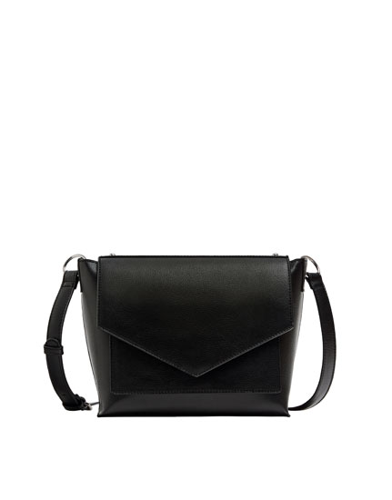 Black crossbody bag with front flap