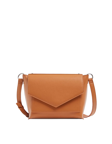 Camel crossbody bag with front flap