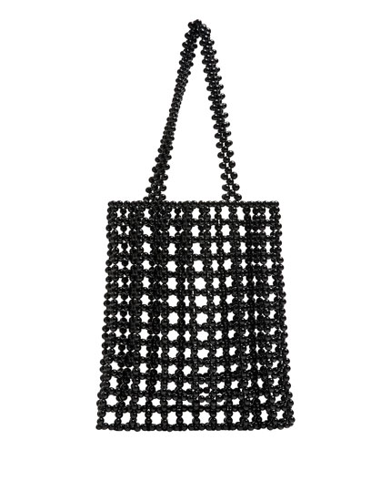 Black beaded tote bag