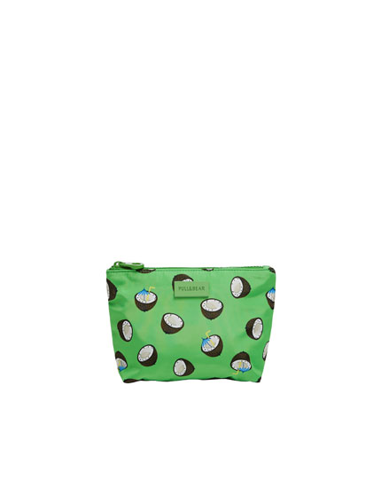Green toiletry bag with coconut print