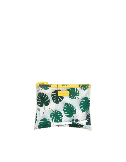 Leaf print vinyl toiletry bag