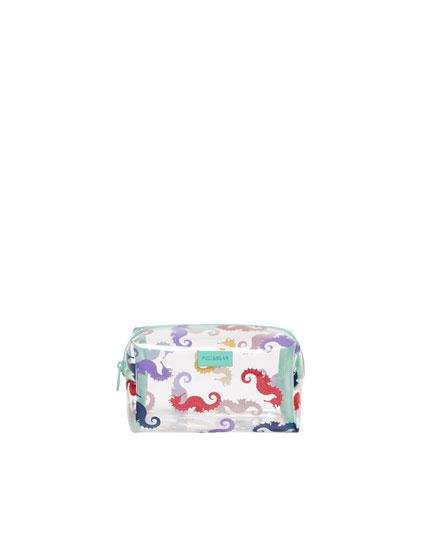 Seahorse print vinyl toiletry bag