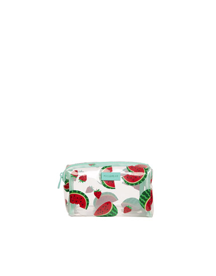 Watermelon print vinyl toiletry bag