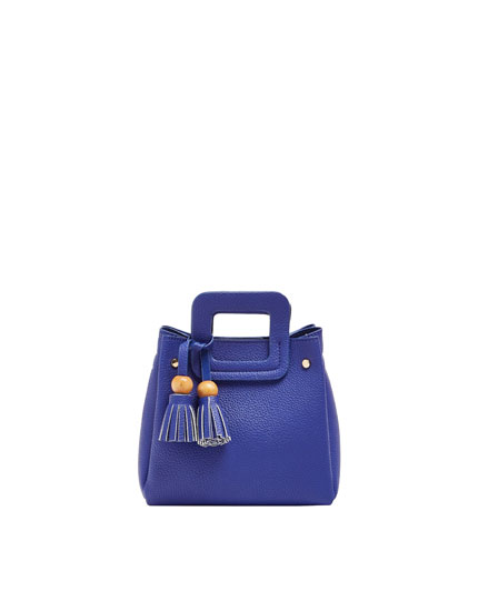 Blue mini crossbody bag with tassel detail