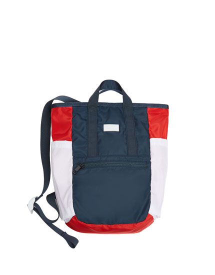 Multicoloured blue fabric backpack