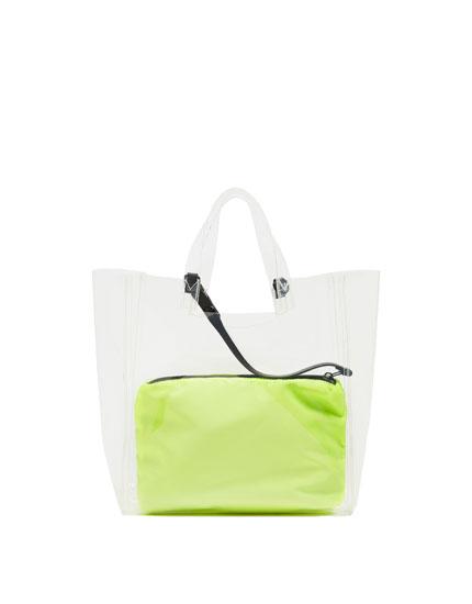 'Shopper' stila vinila soma ar iekšējo somiņu neona krāsā