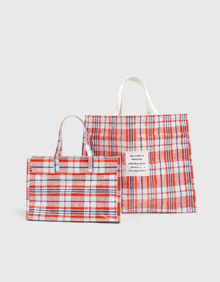 Check tote bag with slogan