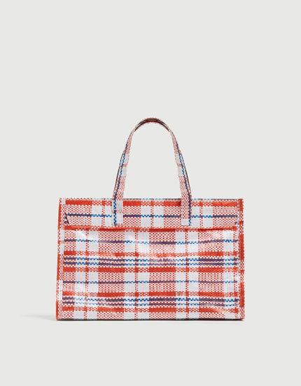 Check mini tote bag