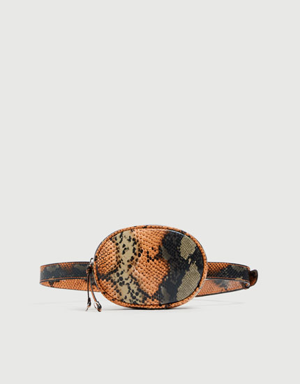Orange animal print belt bag