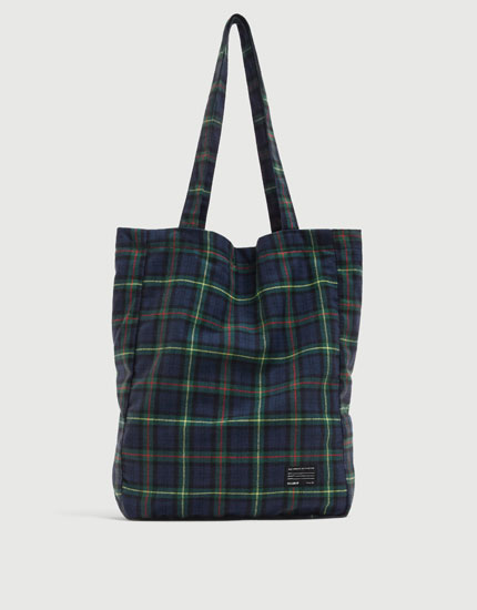 Green check tote bag