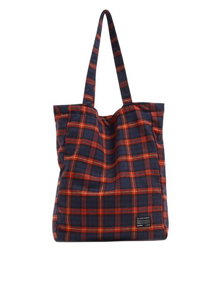 Red check tote bag