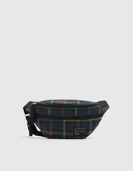 Green check belt bag